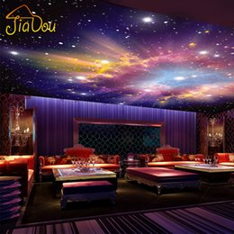 Wholesale Paper Wall Paintings - Wholesale- Custom Murals 3D Star Nebula Night Sky Wall Painting Ceiling Smallpox Wallpaper Bedroom TV Background Galaxy Theme Wallpaper