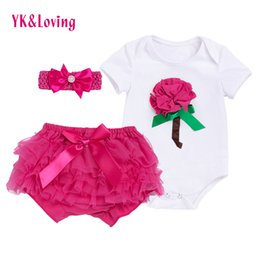 Wholesale Baby Bodysuits Short Sleeve - Hot Sale Baby Clothing sets Kids Cotton White Bodysuits rose red shorts Rompers Girl Newborn Short Sleeve Valentine Day Clothes YK&Loving