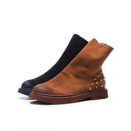 Wholesale boots fashion platform vintage - 2018 new Fashion Vintage Genuine Leather Shoes Female Spring Autumn Platform Ankle Martin Boots Woman rivet Casual Boots yellow black