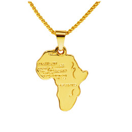 maps pendant Promo Codes - Rock Hippie Small African Map Pendant Necklace 18K Real Gold Plated Chain Long Necklaces Party Jewelry Mens Gifts