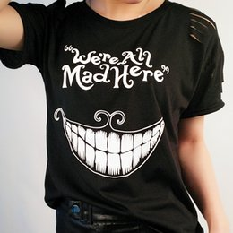 3990c910 Wholesale- 15 color new style 2017 Fashion women T-shirt Harajuku Alice in  Wonderland Cat Mike print female T-shirt o-neck tops tees women