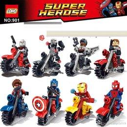 Wholesale Diy Building Block Set - New Avengers Captain America Iron Man SpiderMan Series Building Blocks 8pcs set DIY Superhero Blocks Toys for children C1010