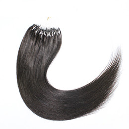 "Wholesale Micro Loop Indian Virgin - 10""-26"" 1.0g s 100s Grade 7A Indian Loop Micro Ring Human Hair Extensions 100%Remy Virgin Hair Straight Dark color 100g MoonBay Hair"