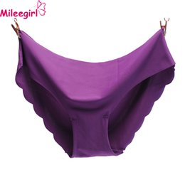 Wholesale Ladies Thin Panties - Mileegirl 6Colors Women Seamless Briefs Plus Size Panties Ultra-thin Traceless Trimming Ruffles Sexy Panty Underwear For Lady