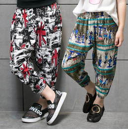 Wholesale Trousers For Summer Cool - 2017 New style fashion cool boys harem pant kids clothes summer loose ninth trousers for girls Anti-mosquito pants