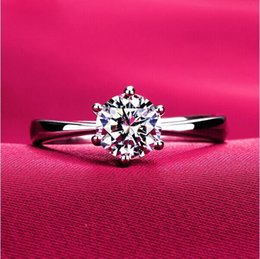 Wholesale Indian K - 18 K Gold plated factory-directed large CZ diamond rings Top Design 6 prong bridal mother's day gift wedding Ring for Women