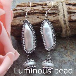 Wholesale White Pearl Earrings Silver Hook - AB071712 2.5'' White Biwa Pearl Coin Pearl Earring-925 Silver Hook