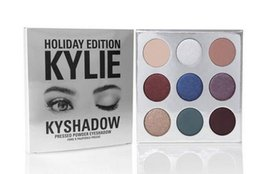 Wholesale Long Satin Bags - HOT Holiday Edition Kylie Cosmetic Limited Collection Kyshadow Palette matte lipstick makeup bag creme shadow Christmas gift