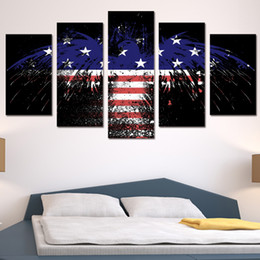 arte da bandeira Desconto 5 Pçs / set Emoldurado HD Impresso Bandeira Americana Eagle Wall Art Poster Pictures Room Decoração Obras de Arte Moderna Pintura A Óleo
