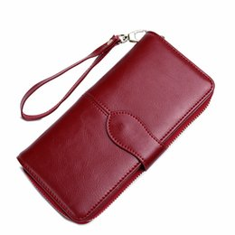 Wholesale Cards Two Folds - 2017 Vintage Lady Genuine Leather Long Wallet Zipper Hasp Cowhide Women Two Fold Purse Coin Handbag With Wrist