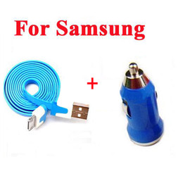 Wholesale Usb Car Data Charger - Colorful 2in1 Noddle Micro USB Sync Data Cable + Mini USB Car Charger For Samsung HTC Mobile phone - Quality A+