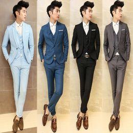 Wholesale Vintage Slim Fit Blazers Men - Wholesale- 2017 Men Grey Vintage Suits Casual Club Vintage Blue Trendy Suits For Men Blazer Classic Black Mens Suits Married Groom Slim Fit