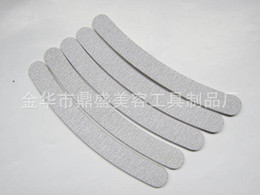 Wholesale Grey Nail Files - Wholesale- 10 x Professional Grey Double Sides Nail Files Buffer Slim Banana Grit 180 180 Sandpaper Women Nail Care Tools N480F12121252565