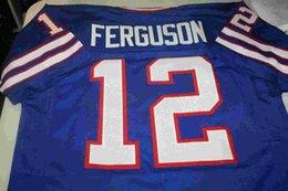 Wholesale Qb Jersey - Cheap Retro JOE FERGUSON #12 QB CUSTOM THROWBACK HOME JERSEY bule Stitching men's football jerseys