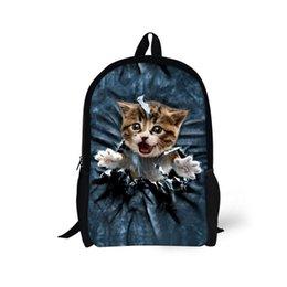 Джинсовые сумки онлайн-Дети школьные сумки для подростков мальчики девочки симпатичные джинсовая кошка собака ранцы дети Bookbag 3D мультфильм животных рюкзак