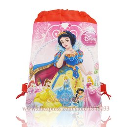 Wholesale Drawstring Backpack Princess - Wholesale- 1pcs Princess Snow White Belle Figures Drawstring Backpack Bags Without handle Size 35*27CM School Supplies Kids Party Gifts