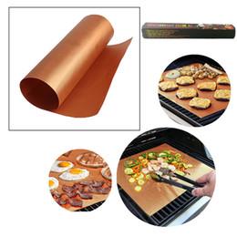 Wholesale teflon mat - Barbecue Mats Gold BBQ Grill Mat Non-Stick Teflon Reusable Durable Sheet Pad 40*33cm Baking Liners Heat Resistance Microwave Oven Cooking