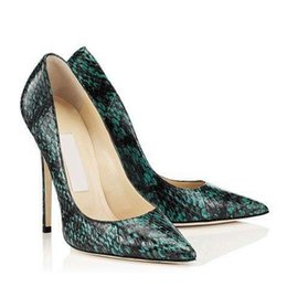 Wholesale Green Snakeskin Heels - 2017 New spring nightclub sexy suede pointed toe green snakeskin ladies pumps Embossing Shallow mouth high heel single shoes