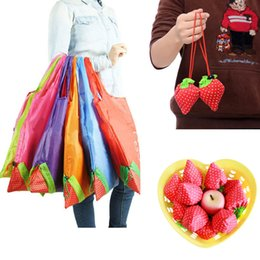 Wholesale Nylon Grocery Bags Wholesale - Hot Tote Cute Eco Storage Handbag Strawberry Foldable Environmental Shopping Bags Reusable Folding Grocery Nylon Large Bag 8 colors