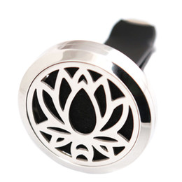 Wholesale Lotus Wholesale - New Lotus Flower 30mm Aromatherapy Essential Oil surgical Stainless Steel Pendant Perfume Diffuser Car Lockets Include 50pcs Felt Pads