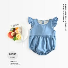 Wholesale Girl Jumpsuit Denim Baby - Nicoevaropa Fashion Newborn Kids Romper Baby Boys and Girls Blue Heart Denim Jumpsuit 2017 Summer Toddler Clothes