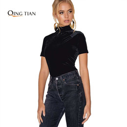 Wholesale Turtleneck T Shirts Short Sleeve - Wholesale- QING TIAN 2017 Women Velvet T-shirts Sexy Backless Black Turtleneck Short Sleeve Tops Femininas Slim Sexy Casual Velvet T-shirts