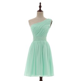 Wholesale One Shoulder Beach Dress - One Shoulder Chiffon Short Bridesmaid Dress Lace Up 2017 Mint Green Beach Wedding Party Dress Real Photo