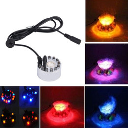 Wholesale Water Fountain Light Led - New 12 LED Colorful Light Ultrasonic Mist Maker Atomizer Fogger Humidifier Decoration Purified Water Fountain Pond