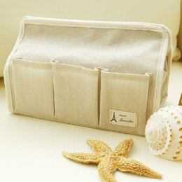 Wholesale Zakka Japan - Wholesale- Boites Mouchoir 2015 Hot Sale Multifunction Cotton Tissue Box Zakka Style Waterproof 6 Pocket Tiussue Case For Home Decoration