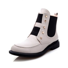 Wholesale Modern White Heels - ankle boots genuine leather hot sale elastic band special student martin boots modern rivets decoration women boots