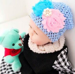 Wholesale Football Beanie Baby - baby hats children caps knitting belt drill baby Headwears elastic baby hats two floral children hats 4 colors Beanies