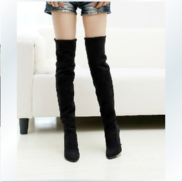 Wholesale Leather Fashion Boots For Women - US 4-12 big size Fashion Jackboots Over The Knee Boots For Women Faux Suede Upper Stretch Fabric Slim Boots Free shipping