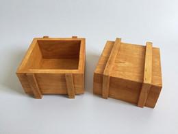 Wholesale Small Wooden Flower Pots - Cute Wood Box Succulents Planter Square Sharp wooden Cube Flower pot Mini Pot for Cactus Small Plant