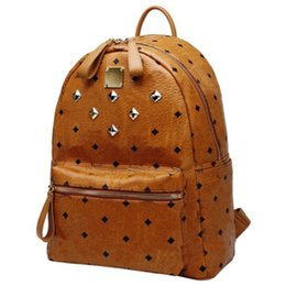 Wholesale Korea Leather Bags - 2017 Limit Quantity Authentic Backpack Luxury Full Rivets PU Leather Korea Fashion bags Sport Hiking Travel Bag Black Pink Brown color