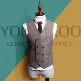 Wholesale British Cloths - New double-breasted Korean casual Slim men's suit vest woolen cloth thick British style cavalry vest waist wave 2017 v02