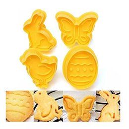 Wholesale Butterfly Eggs - 4 pcs set Butterfly,Rabbit,Chick,Easter Egg Shape Animal Plastic Fondant Cookie Cutter Biscuit Cake Mold Cake Decoration