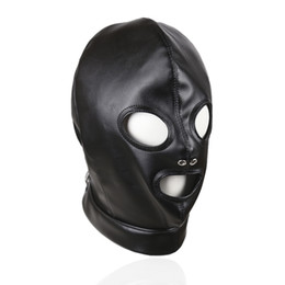 Wholesale pvc bdsm - Sex Erotic Faux Leather Holes Hood BDSM Bondage Leather Masks for Sex Bondage PVC Masks for Adults Play Games Sexy Toys Role Play Tools