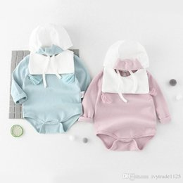 Wholesale Wholesale Corduroy Hats - INS new arrivals fall baby kid climbing romper 100% cotton round collar with tassel romper+ hat girl boy fall rompers 0-1T
