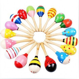 Wholesale Maracas Instrument - Wholesale- Colorful Wooden Maracas Children Musical Instrument Rattle Shaker Party Baby Toy