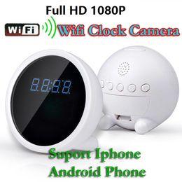 Wholesale Night Time Security Cameras - 1080P P2P WiFi Mini IP Camera Alarm Clock Spy Camera Motion Detection Night Vision remote monitor Indoor Home Security Camera real time view