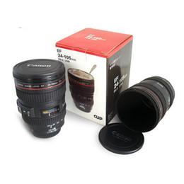 lentes de capuz Desconto Coffee Camera Lens Mug Cup Stainless Steel Travel Cup Câmera de café térmico com tampa do capuz 420ml Black DHL Free