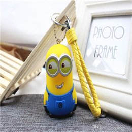 Wholesale Keyring Minions - Movie Cartoon Despicable Key Chain Ring Holder Cute Small Minions Figure Keychain Keyring Pendant Bags Accessories Free Shipping