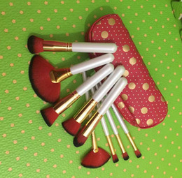 Wholesale wholesale leather pieces - HOT NEW Makeup Brushes Professional Brush 9 Pieces + leather Pouch red   black