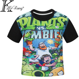 Wholesale Animal T Shirts Cheap - 110-150cm tall The Plants vs Zombies children T-shirt for sale wholesale The boy girl t-shirts barnd cheap 5-6-7-8-12 years