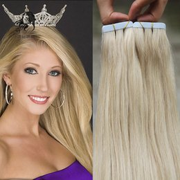 Wholesale Skin Weft Adhesive - Malaysian Tape In Human Hair Extensions 40pcs Adhesive Skin Weft Vrigin Hair 18'' 20'' 22'' Remy Brazilian Virgin Hair #613 Bleach Blonde