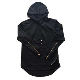 Wholesale Arc Long - Wholesale-British Mens Hoodies Hip Hop Side Zipper Arc Cut Sweatshirt Black Gray Z1071