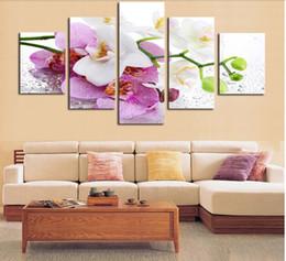 Óleo, pinturas, lona, orquídeas on-line-5 Painel (Frame) Linda rosa pintura a óleo da orquídea em flores de lona Retrato Da Arte Da Parede Decoração de Casa Impressão de pinturas modernas