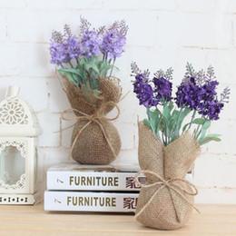 Wholesale Wholesale Lavender Silk Flowers - Artificial Lavender Silk Flower Wedding Party Home Decoration Desktop Green Plant Burlap Jute Bag Pocket Potted ZA3077