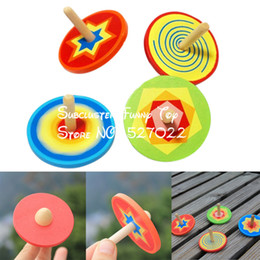 Wholesale Wholesale Wooden Spinning Top - Wholesale- JIMMY BEAR 2 Pcs Set Wood Spinning Top Kids Colorful Wooden Gyro Toy Intelligence Classic Toy