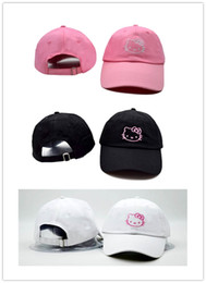 Wholesale Hello Snapbacks - New Hot Sale Hello Kitty Ball Caps Fashion Baseball Cap Embroidery Snapback Adjustbale Snapbacks Woman Girls Lady Summer Sun Hats Golf Hat